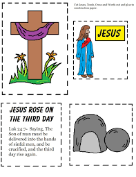 Easy Easter Toddler Cutout Sheet Jesus Rose On The Third Day