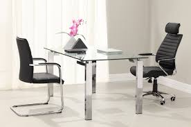 home office with clear glass desk combine stainless steel legs chrome and black leather swivel office