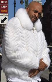 mink tail white fur jacket with fox collar