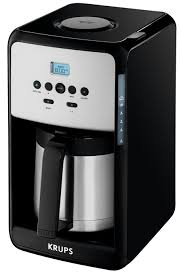 The carafe keeps your coffee at the perfect temperature using insulation instead of a heating element. Krups 12 Cup Savoy Programmable Black Thermal Coffee Maker Et351050 Et351050