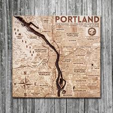 Portland Or Wood Map 3d Nautical Wooden Chart