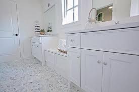 blue and gray mosaic bathroom floor
