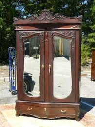 antique 19c armoire wardrobe victorian rococo mahogany birdseye maple interior ebay antique mahogany armoire