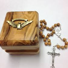 handcrafted from pruned olive branches in bethlehem rosary and box 650r 29 95