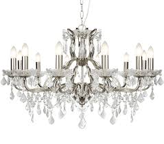 searchlight paris 12 light chandelier satin silver finish with clear crystal drops trim 87312 12ss