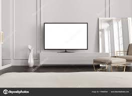 Woonkamers Tv Toestel Met Een Leeg Wit Scherm Staat Op Houten Kast