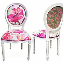 vine french style round back side chair colorful bright watercolor fl flower upholstery fabric