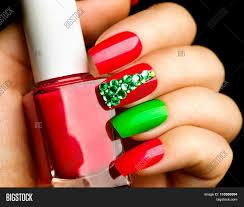 Christmas Nail Art Manicure. Winter Image & Photo | Bigstock