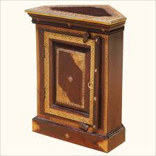 Antique Brown Wooden Corner Nightstand In Wedge Shape With Gold Accent