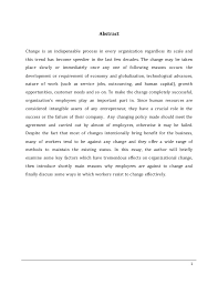 a employee effective resistance to organisation change 2 1 abstract change