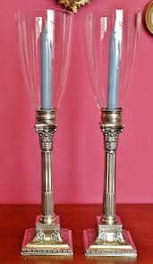 details about 2 antique s p candlesticks 2 sterling glass shades corinthian column wil