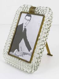 a beautiful venetian picture frame made of clear twisted rope murano glass and nice brass detailing