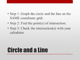 step 1 graph the circle and the line on the same coordinate grid