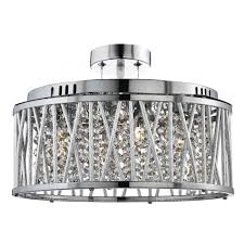 elise chrome 5 light fitting with crystal on drops