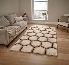 cream brown hexagon rug super soft gy pile noble house honeycomb floor mat