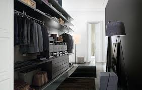 Black Paint Mens Walk In Closet With Floor Lamp Decor