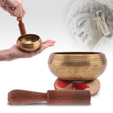 handmade tibetan singing bowl set 8 5cm copper buddhism bowl sushion wood mallet yoga meditation relax