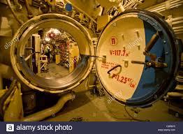An open watertight door of the Soviet diesel-electric attack Stock ...