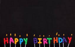 Happy Birthday Lit Candles On Purple Background Stock Photo Image