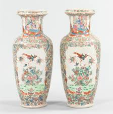 Good Chinese Floor Vase #9 A Pair Of Large Famille Rose Floor Vases, Chinese