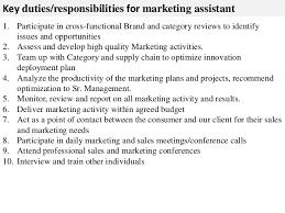 marketing assistant job description Key duties responsibilities for marketing  assistant