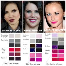 winter makeup parisons dark winter true winter bright winter notice how the true winter in the middle has noticeably cool pink undertones pared