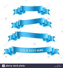 Blue Ribbon Design Blue Ribbon Banners Set Beautiful Blank For Decoration