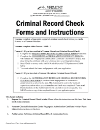 Criminal Record Template Criminal Record Check Forms And Instructions Vermont