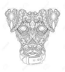 Monochrome Decorative Dog Human Best Friend Face Doodle Style