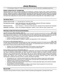 Computer Technician Resume Template Resume For Electronics Engineering  Technician Carpinteria Rural Free