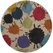 5 round cream paint ball area rug hipster