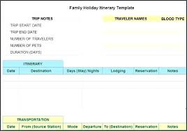 Itinerary Travel Template Vacation Itinerary Template Excel This Is An Ms Based Trip Which
