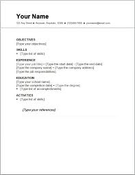 Resume Examples Basic Resume Templates Sample Free Free Resume