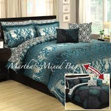 12 best Bed Sets images on Pinterest | Aqua comforter, Blue quilts ... & 10pc QUEEN TEAL GRAY BLACK DAMASK TOILE ARABESQUE COMFORTER SHEET BEDDING  SET Adamdwight.com