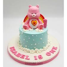 Care Bear Pink Rainbow Theme Baby Girl 1st Birthday Cream Cake