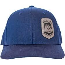 navy blue flex fit cap with vegan leather patch