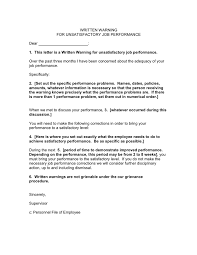 Employee Performance Letter Sample Written Warning For Unsatisfactory Job Performance Template