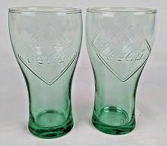 2 x mcdonalds coca cola glasses 125 years limited edition 1900 green tint e