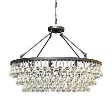 glass crystal black chandelier pleated shade