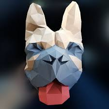 french bulldog faux taxidermy head diy 3d paper wall sculptures