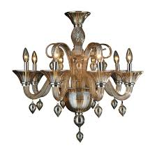 worldwide lighting murano venetian style 8 light amber orange blown glass chandelier