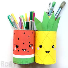Summer Pencil Holders - this little Melon Pen Pot and Pineapple Pen Pot are  super quick