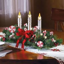 christmas centerpieces for round tables. Kitchen Winning Christmas Decorations For Table White Embroidered Runner Red Ribbon Candy Cane Ornament Bright Candle Lights Round Wooden Dining Centerpieces Tables O