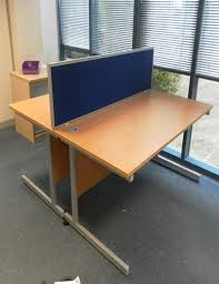 office desk dividers. used blue and silver 1600mm desk dividers office d