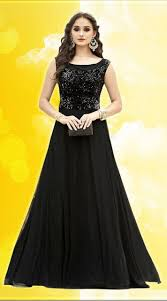 Designer Party Dresses For Less Dazzling Black Net Sleeve Less Gown Gowns Designer Gowns