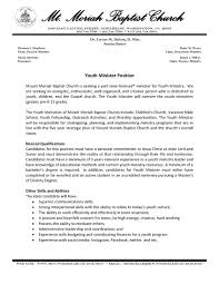 Sample Cover Letter For Pastor Resume youth pastor cover letter Minimfagencyco 1