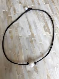 pearl black brown leather choker necklace