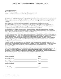 Terminate A Lease Letter Mutual Termination Of Lease Tenancy Ezlandlordforms