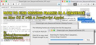 javascript how to find missing frames in an image sequence