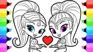 Shimmer And Shine Coloring Pages How To Draw And Color Shimmer And